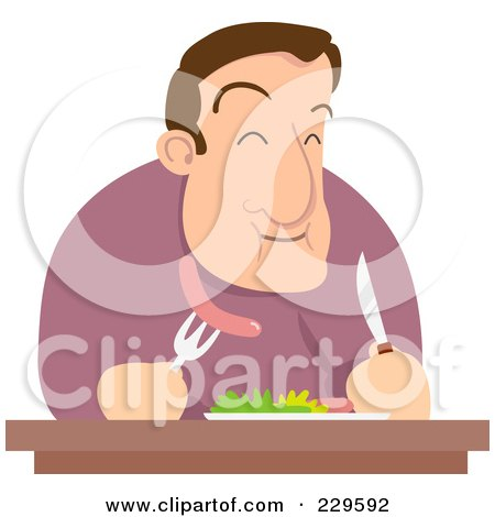 Royalty-Free (RF) Clipart Illustration of a Hungry Man Eating Sausage by Qiun