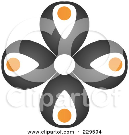 Royalty-Free (RF) Clipart Illustration of an Abstract Black And Orange Logo Icon - 5 by Qiun