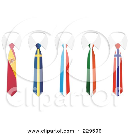 Royalty-Free (RF) Clip Art Illustration of a Digital Collage Of Spain, Sweden, France, Ireland And Norway Flag Business Ties And White Collars by Qiun