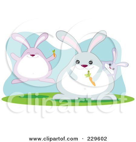 Royalty-Free (RF) Clipart Illustration of a Rabbit Family With Carrots by Qiun