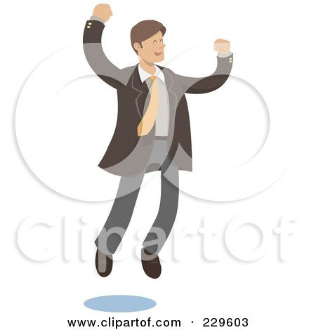 Royalty-Free (RF) Clipart Illustration of a Happy Businessman Leaping by Qiun