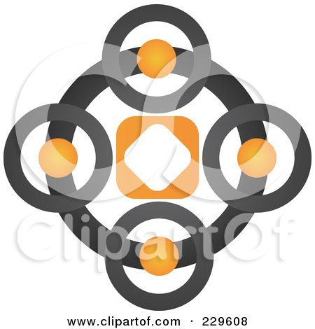 Royalty-Free (RF) Clipart Illustration of an Abstract Black And Orange Logo Icon - 8 by Qiun