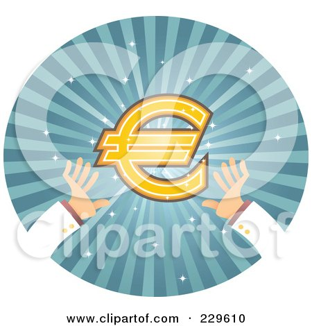 Royalty-Free (RF) Clipart Illustration of a Pair Of Hands Reaching For A Euro Symbol Over Blue Rays by Qiun