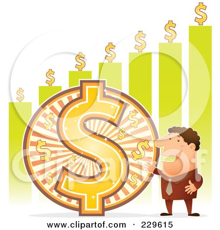 Royalty-Free (RF) Clipart Illustration of a Wealthy Businessman By A Large Dollar Symbol And Green Bar Graph by Qiun