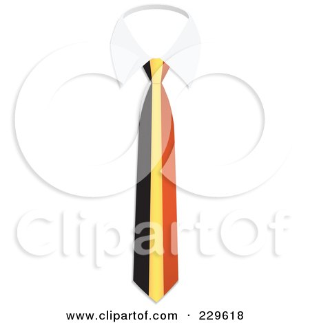 Royalty-Free (RF) Clipart Illustration of a Belgium Flag Business Tie And White Collar by Qiun