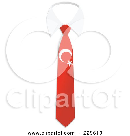 Royalty-Free (RF) Clipart Illustration of a Turkey Flag Business Tie And White Collar by Qiun