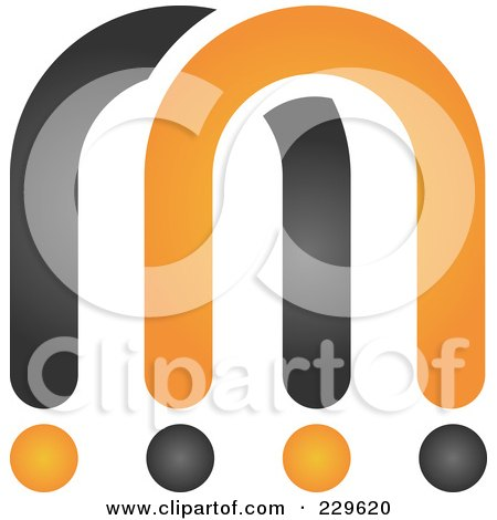 Royalty-Free (RF) Clipart Illustration of an Abstract Black And Orange Logo Icon - 6 by Qiun