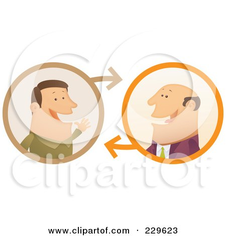 Royalty-Free (RF) Clipart Illustration of Two Businessmen Having A Conversation - 1 by Qiun