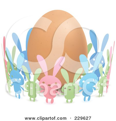 Royalty-Free (RF) Clipart Illustration of Colorful Paper Bunnies Holding Hands Around An Egg by Qiun