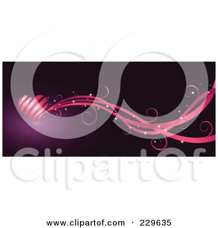 Royalty-Free (RF) Clipart Illustration of a Pink Ribbon Heart And Waves Over Purple by Qiun