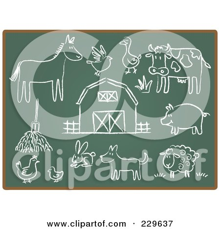Royalty-Free (RF) Clipart Illustration of a Digital Collage Of Chalkboard Sketch Icons - 3 by Qiun