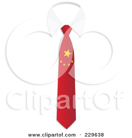 Royalty-Free (RF) Clipart Illustration of a China Flag Business Tie And White Collar by Qiun