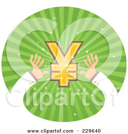 Royalty-Free (RF) Clipart Illustration of a Pair Of Hands Reaching For A Yen Symbol Over Green Rays by Qiun