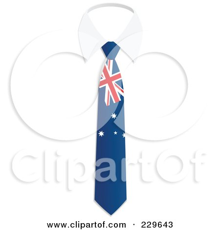 Royalty-Free (RF) Clipart Illustration of an Australian Flag Business Tie And White Collar by Qiun