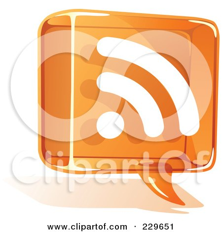 Royalty-Free (RF) Clipart Illustration of an Orange Glass Rss Balloon Icon by Qiun