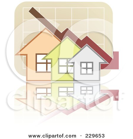 Royalty-Free (RF) Clipart Illustration of a Decline Graph Behind Houses by Qiun