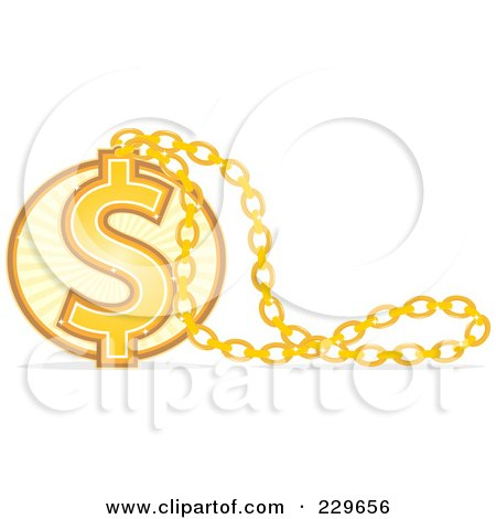 Royalty-Free (RF) Clipart Illustration of a Golden Dollar Necklace Pendant by Qiun