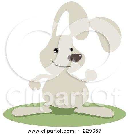 Royalty-Free (RF) Clipart Illustration of a Cute Gray Rabbit Waving by Qiun