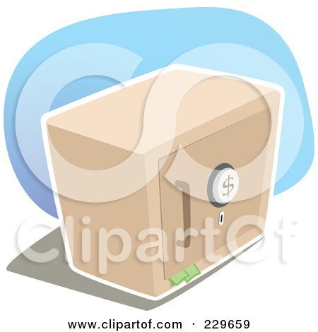 Royalty-Free (RF) Clipart Illustration of a Metal Safe Box With Money Sticking Out Of The Door by Qiun