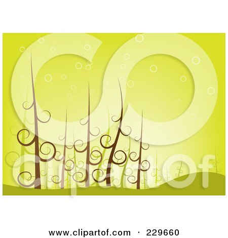 Royalty-Free (RF) Clipart Illustration of a Background Of Swirl Trees In The Woods Over Green by Qiun