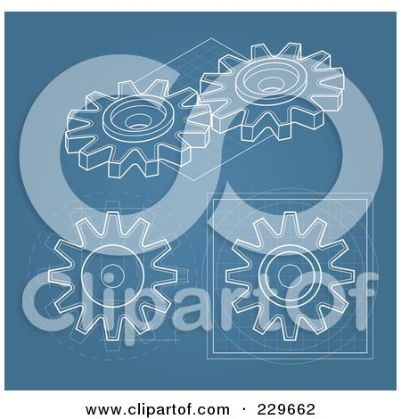 Royalty-Free (RF) Clipart Illustration of a Digital Collage Of Gear Blueprints On Blue by Qiun