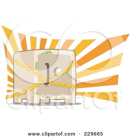 Royalty-Free (RF) Clipart Illustration of a Chained Safe With Money Sticking Out Of The Door by Qiun