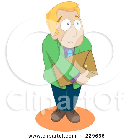 Royalty-Free (RF) Clipart Illustration of a Timid Businessman by Qiun