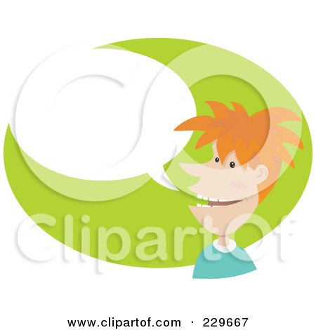 Royalty-Free (RF) Clipart Illustration of a Red Haired Man Over A Gree Oval With A Word Balloon by Qiun