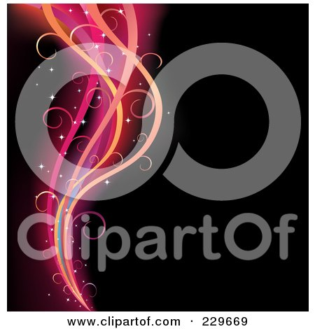 Royalty-Free (RF) Clipart Illustration of a Background Of Glowing Swirl Linse On Black by Qiun