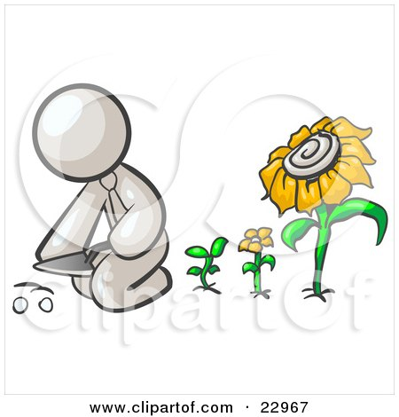 Clipart Illustration of a White Man Kneeling By Growing Sunflowers To Plant Seeds In A Dirt Hole In A Garden by Leo Blanchette