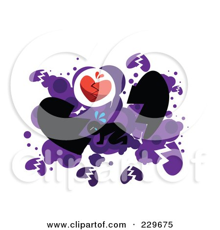 Royalty-Free (RF) Clipart Illustration of a Broken Hearted Man On His Hands And Knees Over White And Purple by mayawizard101