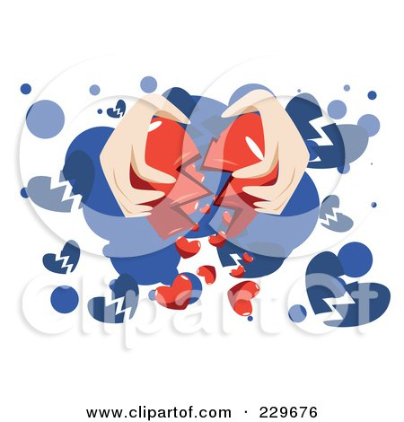 Royalty-Free (RF) Clipart Illustration of a Pair Of Hands Breaking A Heart On Blue And White by mayawizard101