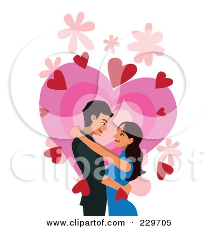 Royalty-Free (RF) Clipart Illustration of a Couple Over Hearts On White by mayawizard101