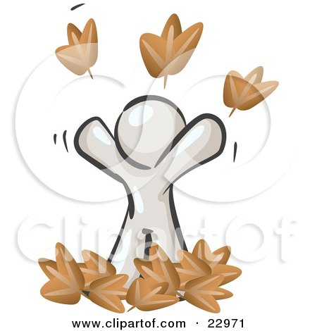 Clipart Illustration of a Carefree White Man Tossing Up Autumn Leaves In The Air, Symbolizing Happiness And Freedom by Leo Blanchette