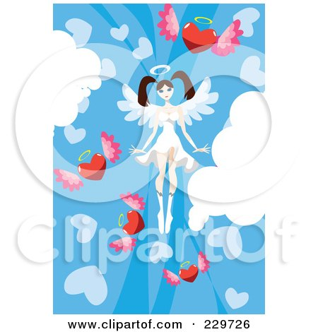 Royalty-Free (RF) Clipart Illustration of a Female Angel In A Sky Of Winged Hearts by mayawizard101