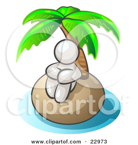 Clipart Illustration of a White Man Sitting All Alone With A Palm Tree On A Deserted Island by Leo Blanchette