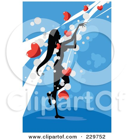 Royalty-Free (RF) Clipart Illustration of a Silhouetted Woman Standing And Reaching For Hearts, Over Blue by mayawizard101
