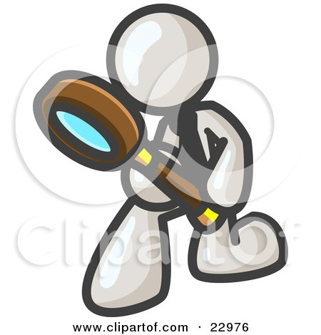 Clipart Illustration of a White Man Bending Over to Inspect Something Through a Magnifying Glass by Leo Blanchette