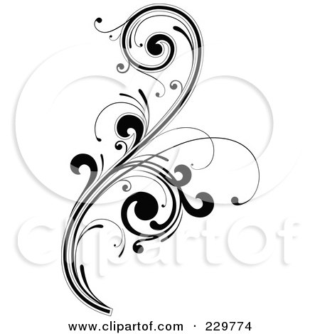 5850833bd39 Royalty-Free (RF) Clipart Illustration of a Black And White Flourish Design  -