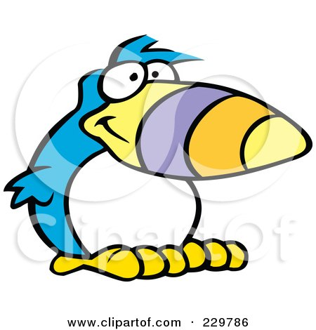 Royalty-Free (RF) Clipart Illustration of a Goofy Blue Toucan With A White Belly by Johnny Sajem