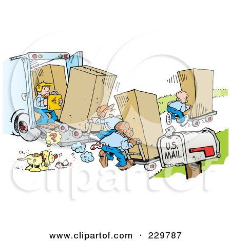 Royalty-Free (RF) Clipart Illustration of a Dog Staring At A Ball And A Team Of Movers Moving Boxes On Moving Day by Johnny Sajem