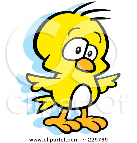 Royalty-Free (RF) Clipart Illustration of a Goofy Yellow Bird by Johnny Sajem