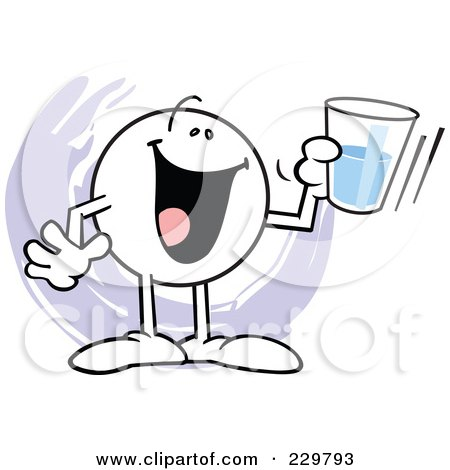 Royalty-Free (RF) Clipart Illustration of a Moodie Character Holding A Glass Half Full by Johnny Sajem