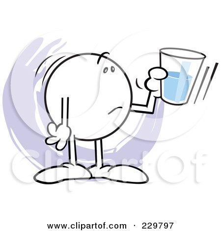 Royalty-Free (RF) Clipart Illustration of a Distraught Moodie Character Holding A Glass Half Empty by Johnny Sajem