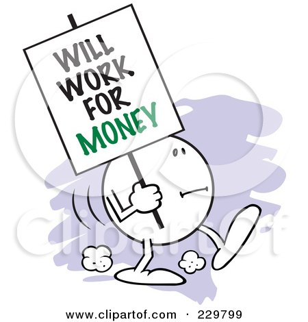 Royalty-Free (RF) Clipart Illustration of a Moodie Character Carrying A Will Work For Money Sign by Johnny Sajem