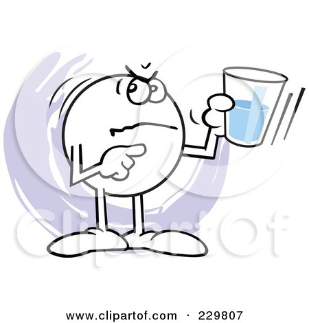Royalty-Free (RF) Clipart Illustration of a Mad Moodie Character Holding A Glass Half Empty by Johnny Sajem