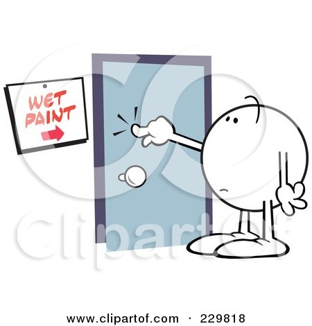 Royalty-Free (RF) Clipart Illustration of a Moodie Character Touching Wet Paint On A Door by Johnny Sajem