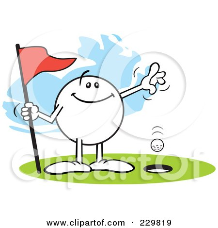 Royalty-Free (RF) Clipart Illustration of a Pleased Moodie Character Golfing A Hole In One by Johnny Sajem