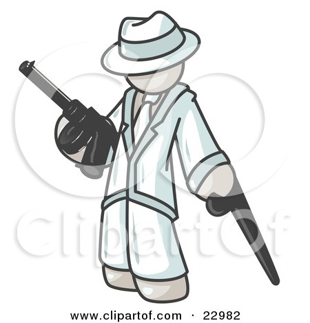 Clipart Illustration of a White Gangster Man Carrying a Gun and Leaning on a Cane by Leo Blanchette