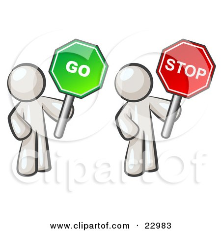 Clipart Illustration of White Men Holding Red And Green Stop And Go Signs by Leo Blanchette